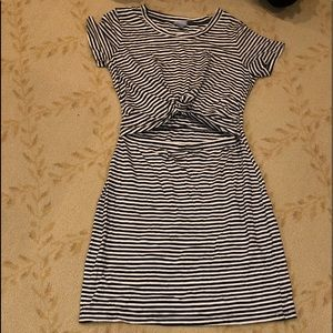 Abbeline dress, navy and white stripe, size small